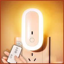 Đèn ngủ Oval cắm điện 10 cấp độ sáng có remote - đèn ngủ thông minh - hẹn  giờ - 2 cổng USB sạc nhanh mới 2021 - Đèn ngủ Nhãn hàng OEM