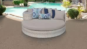 outdoor wicker patio furniture in beige
