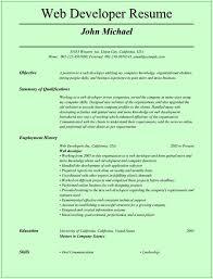 Sample Resume For Web Designer Resume For Your Job Application