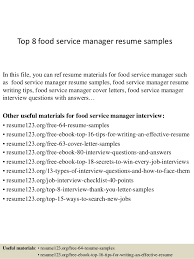 Food Service Manager Resume Cool Top 28 Food Service Manager Resume Samples