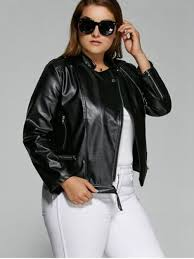 2017 plus size inclined zipper biker jacket black