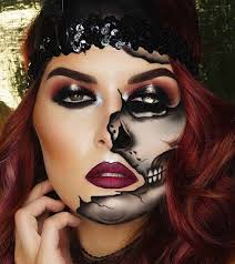 half skull illusion makeup idea for women skeleton skull 2017