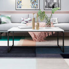 faux marble coffee table. Metal Frame Cocktail Coffee Table Faux Marble Rectangular Accent Living Room New