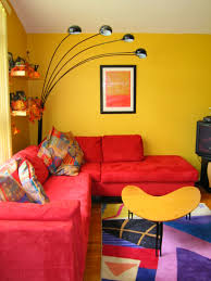 Interior:Dark Yellow Living Room Wall Color Moroccan Themes Wall Color Idea  Fascinating Red Sofa