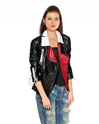 biker jacket in colourblock stripeopen1 3 scroll up color blocked stripe leather