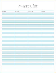 Excel Guest List Exampleng Guest List Spreadsheet Sample Printable Template Excel