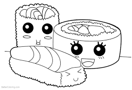 Cute Food Coloring Pages Sushi Free Printable Coloring Pages