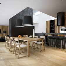 Kitchen Dining Room Luxury Minimalist Loft Designs In Black And White Image 18
