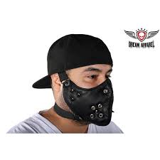 biker leather face mask with spikes
