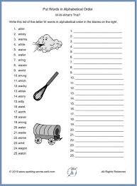 put words in alphabetical order worksheets