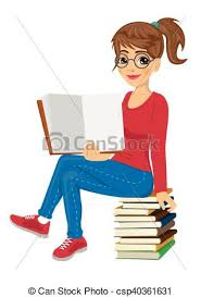 young female student with gles sitting on stack of books showing open textbook csp40361631