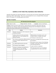 Sample Staff Meeting Agendas And Minutes Free Download