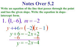 slope intercept form notes over 5 2 write an equation of the line that p through the point and has