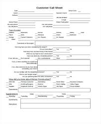 Customer Call Sheet Template Call Sheets Template Thaimail Co