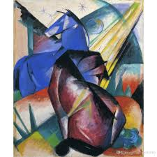 2018 franz marc artwork reion two horses red and blue oil painting canvas high quality handmade wall decor from cherry02016 101 51 dhgate com