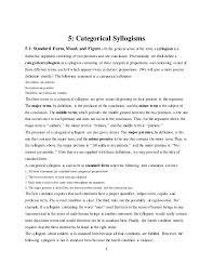 Intro Logic Ch 4 Categorical Syllogism