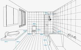 concept plan of a bathroom with standard unit measurements