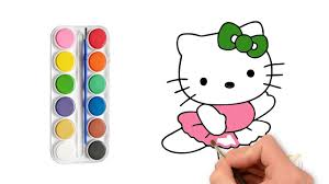 How To Draw Kitty | Bé tập vẽ mèo kitty in 2020 | Kitty, Drawings, Hello  kitty