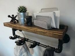 Reclaimed Wood Coat Rack Shelf Delectable Black Iron Pipe Shelves Industrial Black Pipe And Reclaimed Barn