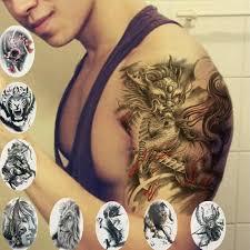 классные тигр лев дракон временные наклейки тату на руку плечо