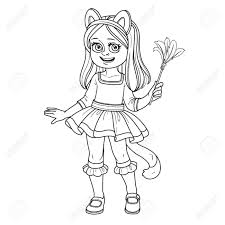 Cute Girl In Cat Costume Outlined For Coloring Page Royalty Free