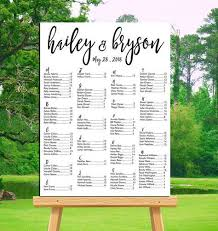 Poster Seating Charts For Wedding Receptions Wedding Seating Chart Printable Alphabetical Or By Table