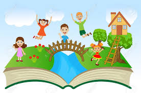 open book with children and summer landscape vector ilration royalty free cliparts vectors and stock ilration pic 30309030