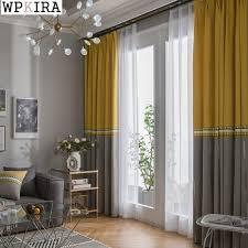 Neue Moderne Mittelmeer Gelb Blau Nähte Luxuriöse Vorhänge Für