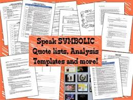 symbolic quote list analysis activities essay for the novel speak