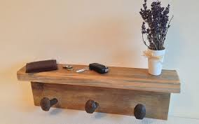 Rustic Coat Rack With Shelf Pine scaffold board rustic coat rack with shelf Inwood Creations 75