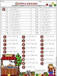 Writing Quadratic Equations: Vertex Form to Standard Form Practice ...