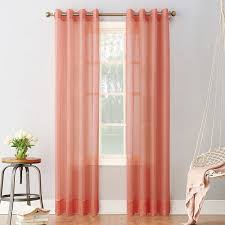 no 918 emily sheer voile window curtain 15 liked on polyvore featuring home home decor window treatments curtains med pink patterned curtains