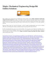 Mechanical Design Shigley Pdf Shigley Mechanical Engineering Design 8th Edition Solutions