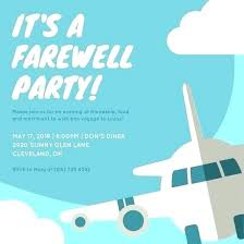 Invitation Cards For Farewell Party Amazing Farewell Party Invitation Or Blue Airplane Template Word