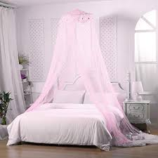 Jeteven Girl Bed Canopy Lace Mosquito Net for Girls Bed, Princess Play Tent Reading Nook Round Lace Dome Curtains Baby Kids Games House-Pink