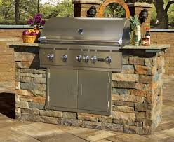 stone veneer grill island