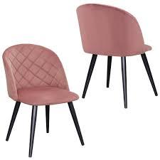 2er Set Esszimmerstuhl Polsterstuhl Stoff Samt Rosa Pink