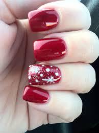 Christmas Nail Designs Shellac Snowflake Design On Red Nails Nail Art Cute Christmas