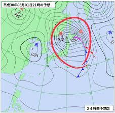 date201803 ものすごい天気でした 東京は晴れ間がのぞいてきています これから低気圧が向かう北日本方面 コレすごいですので注意してください