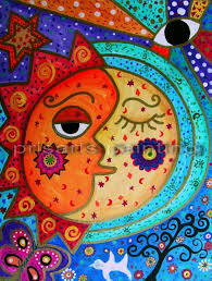 folk art painting mexican sun moon couple love by prisarts