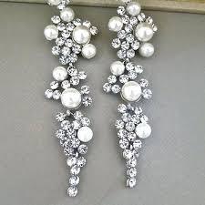 chandelier earrings wedding bridal chandelier earrings rhinestone ivory pearl crystal wedding stud accessories dangle long silver chandelier earrings