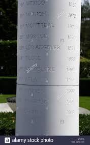 list of the summer olympics towns on a column olympic museum ouchy lause canton of vaud switzerland