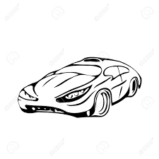 The sketch is stylish car vector illustration in style of pencil