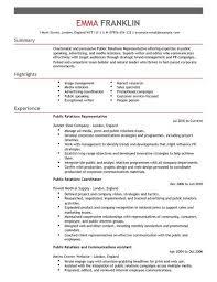sample public relations resume public relations resume template pr public relations intern resume