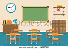 classroom table vector. empty classroom vector illustration. nobody school class room interior with blackboard table c