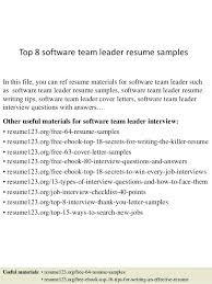 It Team Lead Resume Sample Top 8 Software Team Leader Resume Samples