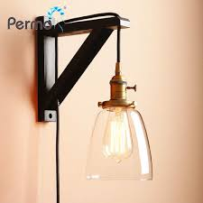 permo handmade wooden lamp hook wall sconce light vintage glass wall lamp with wood stand loft lights fixture home decorations malaysia