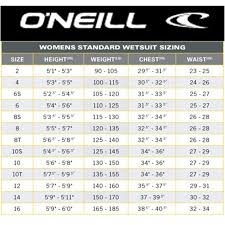 Oneill Mens Wetsuit Size Chart Wetsuit Size Chart Guide H2o Sports