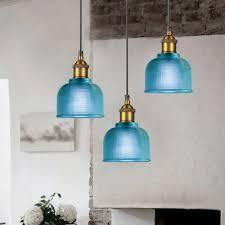 modern pendant light bar blue glass