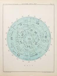 Antique Astronomy Print Circular Celestial Star Chart